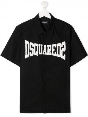 Рубашка поло с логотипом Dsquared2 Kids. Цвет: черный