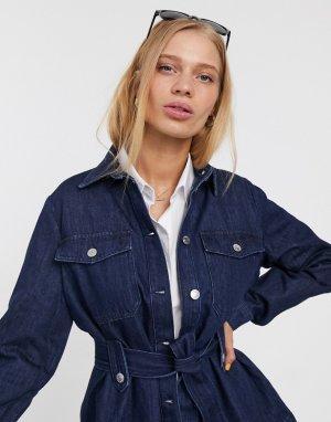 Джинсовая куртка с поясом -Синий Selected