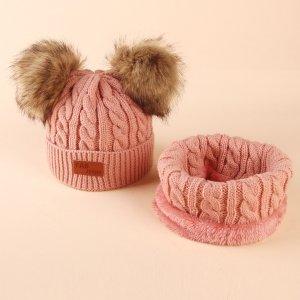 Детская вязаная шапка с помпоном и шарф SHEIN. Цвет: розовые