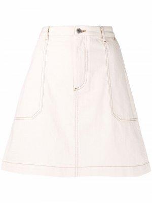 Джинсовая юбка мини А-силуэта A.P.C.. Цвет: нейтральные цвета
