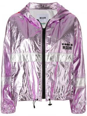 Спортивная куртка X Diadora с металлическим отблеском MSGM. Цвет: розовый
