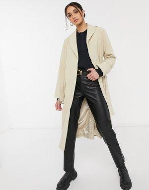 Бежевое пальто с поясом Reem-Бежевый Gestuz