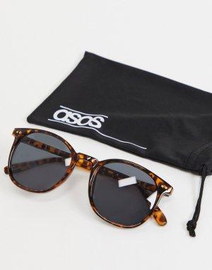 Квадратные солнцезащитные очки с оправой черепаховой расцветки и дымчатыми стеклами -Коричневый цвет ASOS DESIGN