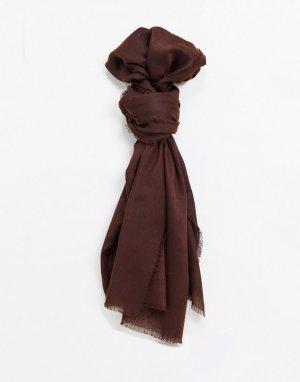 Коричневый легкий шарф с необработанным краем ASOS DESIGN