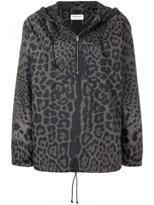 Леопардовая куртка-бомбер с капюшоном Saint Laurent