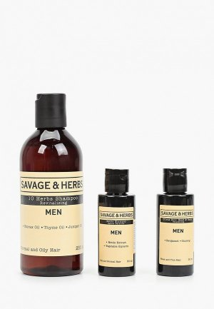 Набор для ухода за волосами Savage&Herbs Подарочный сет премиальных шампуней мужчин Энергия трав Очищение, восстановление, тонизирование, 350 мл. Цвет: прозрачный