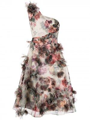 Платье на одно плечо с цветочным принтом Marchesa Notte. Цвет: разноцветный
