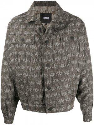 Джинсовая куртка с принтом KTZ. Цвет: нейтральные цвета