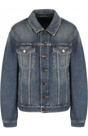Джинсовая куртка с потертостями Saint Laurent. Цвет: синий