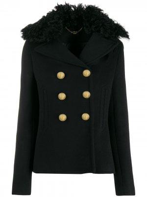 Короткая куртка с воротником из овчины Paco Rabanne. Цвет: черный
