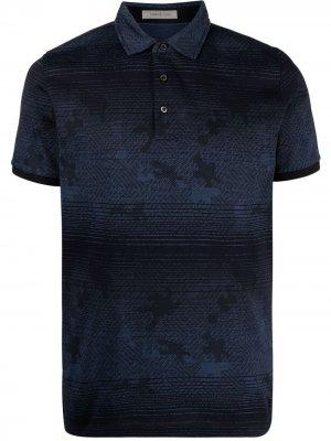Жаккардовая рубашка поло Corneliani. Цвет: синий