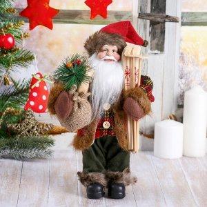 Дед мороз, с мешком и лыжами Зимнее волшебство