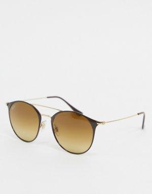 Золотистые солнцезащитные очки в круглой оправе Ray-ban ORB3546-Золотой