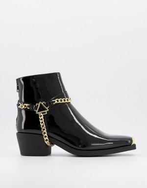 Черные лакированные ботинки челси в стиле вестерн на кубинском каблуке с золотистой цепочкой -Черный цвет ASOS DESIGN