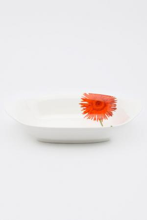 Салатник овальный 25,4 см Naremoa. Цвет: белый, оранжевый