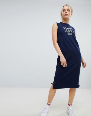 Платье-майка миди Tommy Jeans. Цвет: темно-синий