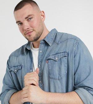 Голубая джинсовая рубашка Levis Big & Tall-Голубой Levi's