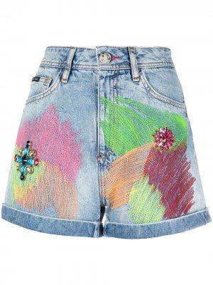 Джинсовые шорты в стиле колор-блок Philipp Plein. Цвет: синий