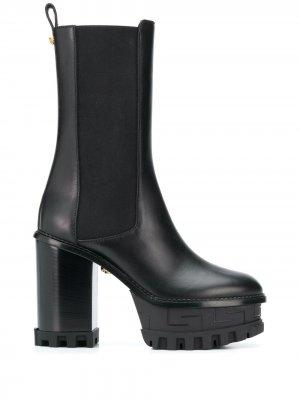 Ботильоны на платформе с тиснением Greca Versace. Цвет: черный