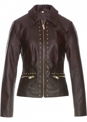 Куртка с заклепками, искусственная кожа bonprix. Цвет: корич-невый