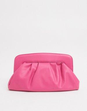 Ярко-розовый дутый клатч ASOS DESIGN