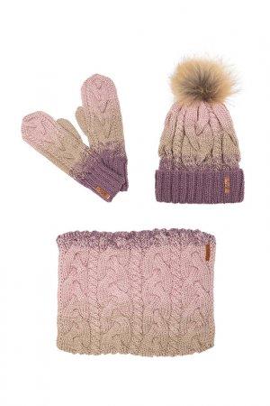 Комплект: шапка, снуд, варежки Sava Mari. Цвет: сиреневый, бежевый