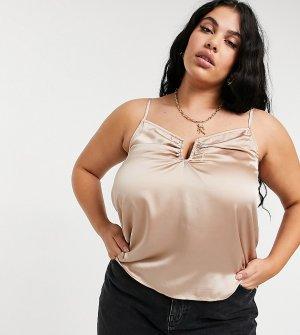 Атласная кремовая майка с разрезом -Кремовый Outrageous Fortune Plus