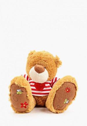 Игрушка мягкая Magic Bear Toys Мишка Бигфут в футболке, 17см.. Цвет: коричневый