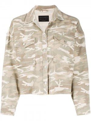 Джинсовая куртка Sol с камуфляжным принтом AllSaints. Цвет: нейтральные цвета