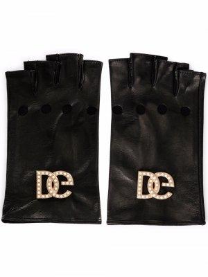 Кожаные перчатки-митенки с логотипом DG Dolce & Gabbana. Цвет: черный