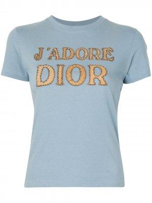 Футболка pre-owned с нашивкой Jadore Dior Christian. Цвет: синий