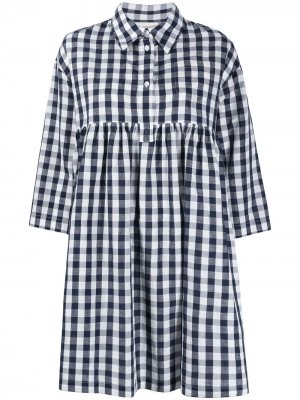 Платье-рубашка мини в клетку гингем Semicouture. Цвет: синий