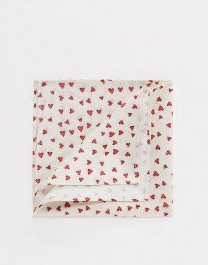 Белый платок для пиджака с принтом сердец Valentines ASOS DESIGN