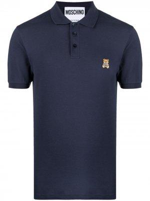 Рубашка поло с вышивкой Teddy Moschino. Цвет: синий