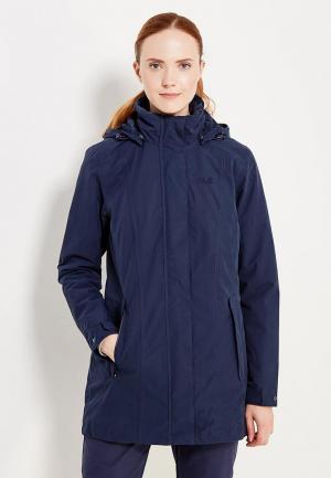 Куртка утепленная Jack Wolfskin MADISON AVENUE COAT. Цвет: синий