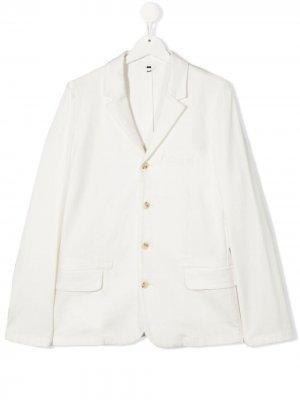 Однобортный пиджак Emporio Armani Kids. Цвет: белый