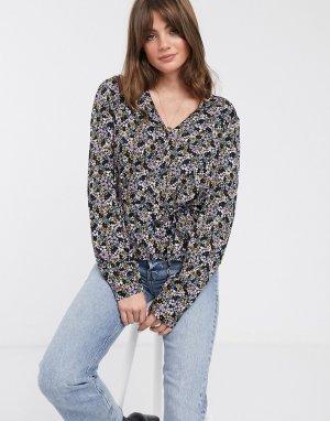 Блузка с цветочным принтом -Фиолетовый цвет Gestuz
