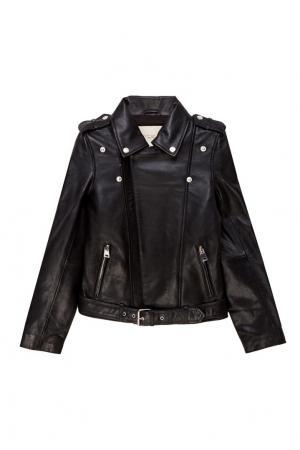 Черная кожаная куртка с поясом Maje. Цвет: черный