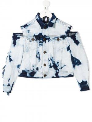 Джинсовая куртка с бахромой и выбеленным эффектом Cinzia Araia Kids. Цвет: синий