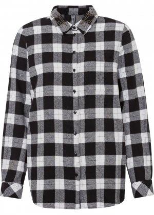 Рубашка из фланели bonprix. Цвет: черный