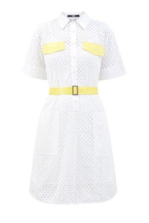 Платье-рубашка из кружевного хлопка со съемным ремнем KARL LAGERFELD. Цвет: белый