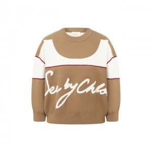 Хлопковый пуловер See by Chloé. Цвет: бежевый