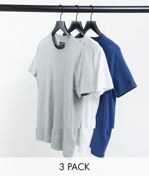 Набор из 3 футболок с логотипом синего, белого и серого цвета -Многоцветный Abercrombie & Fitch