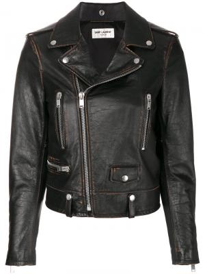 Байкерская куртка Slow Kissing Saint Laurent. Цвет: коричневый