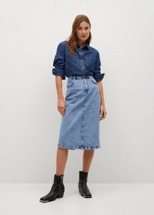 Миди-юбка из денима - Moni Mango. Цвет: синий средний