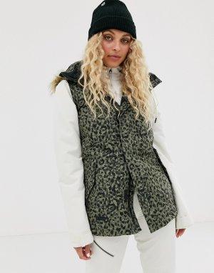 Утепленная куртка цвета хаки с леопардовым принтом -Серый Volcom