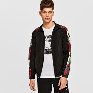 Мужская куртка-ветровка с цветочными полосками SHEIN. Цвет: чёрный