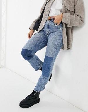 Голубые джинсы в стиле пэчворк -Голубой Abercrombie & Fitch