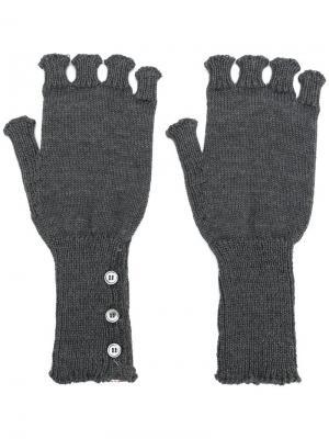 Перчатки без пальцев Thom Browne. Цвет: серый