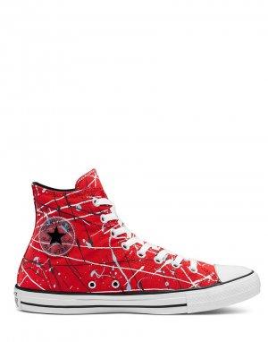 Высокие кроссовки красного цвета с принтом в виде брызг краски Chuck Taylor All Star-Красный Converse